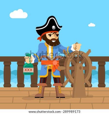 Filibuster. Captain of  pirate ship standing on deck at helm with bottle of rum. Vector illustration - stock vector