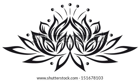 Filigree lotus flower, black vector - stock vector