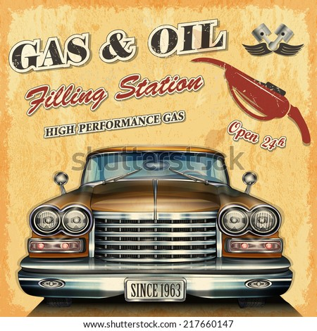Filling station retro banner - stock vector