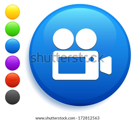 Film Camera Icon on Round Button Collection - stock vector