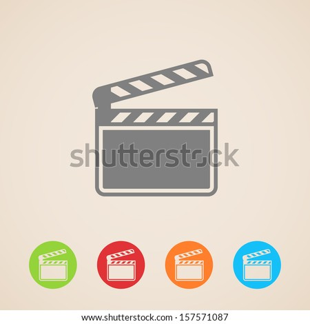 film clap board cinema vector icons - stock vector