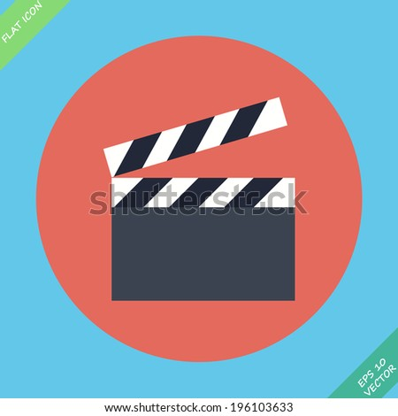 Film clap board cinema - vector illustration. Flat design element - stock vector