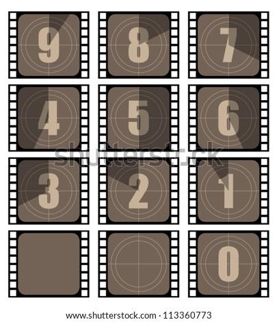 Film countdown illustration set - stock vector