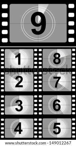 Film countdown numbers. Vector Illustration - stock vector