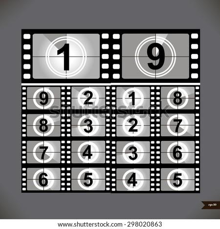 Film countdown numbers. Vector Illustration - stock vector