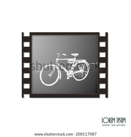 film frame with bicycle - stock vector