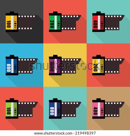Film icon. Flat design. Vector - stock vector