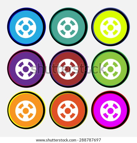 film icon sign. Nine multi colored round buttons. Vector illustration - stock vector