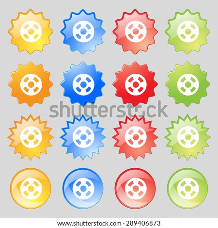 film icon sign. Set from fourteen multi-colored glass buttons with place for text. Vector illustration - stock vector