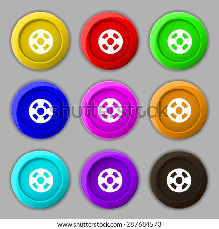 film icon sign. symbol on nine round colourful buttons. Vector illustration - stock vector