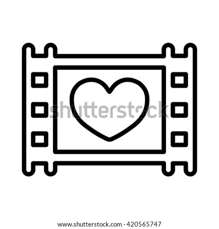 film photo video frame wedding love celebration thin line icon  - stock vector