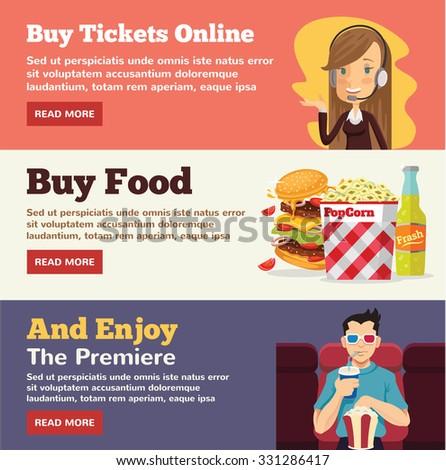 Film promotion and film premiere flat illustration concepts set - stock vector