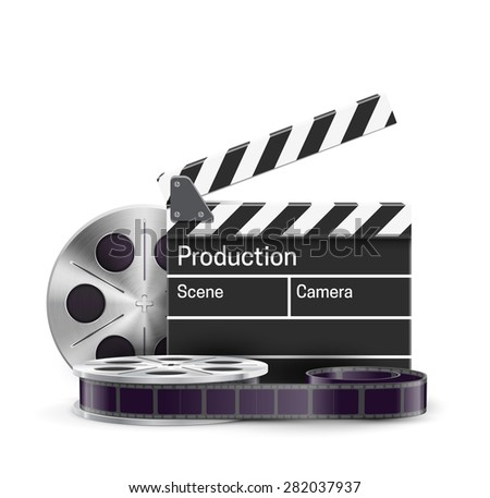 FILM reel and clap isolated on white - stock vector