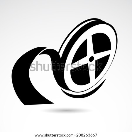 Film reel icon isolated on white background. VECTOR illustration. - stock vector