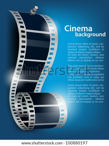 Film reel with stud on blue background - stock vector