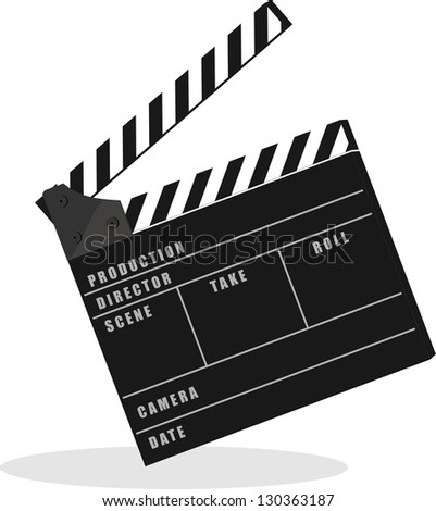 film set clapper - stock vector