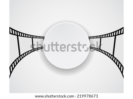 film strip film roll round banner design - stock vector