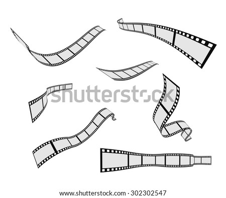 film strip roll design element set - stock vector