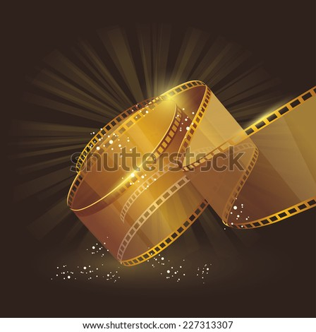 Film strip roll gold. Vector cinema background.  - stock vector