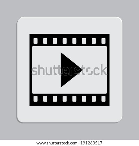 film strip with play icon on a grey flat button - stock vector