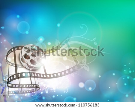 Film stripe or film reel on shiny colorful movie background. EPS 10 - stock vector