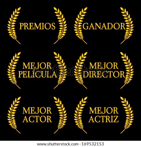 Film Winners Laurels in Spanish 2 - stock vector