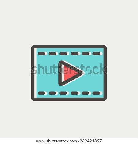Filmstrip icon thin line for web and mobile, modern minimalistic flat design. Vector icon with dark grey outline and offset colour on light grey background. - stock vector