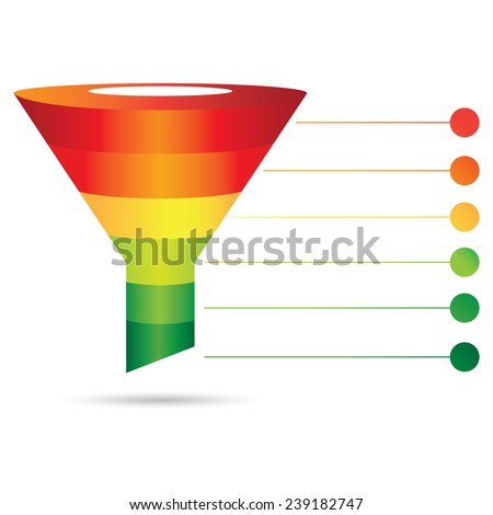 filter diagram, funnel diagram, sale, marketing process chart - stock vector