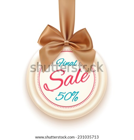 Final sale badge with golden ribbon and a bow, isolated on white background. Sale.  Winter sale. Christmas sale. New year sale. Vector illustration - stock vector