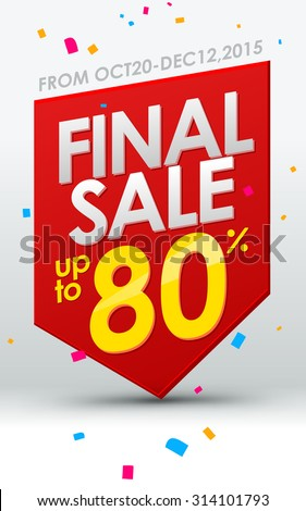 Final sale banner. Vector template - stock vector
