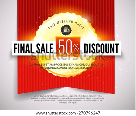 Final sale discount banner with red ribbon and golden medal. Vector illustration - stock vector