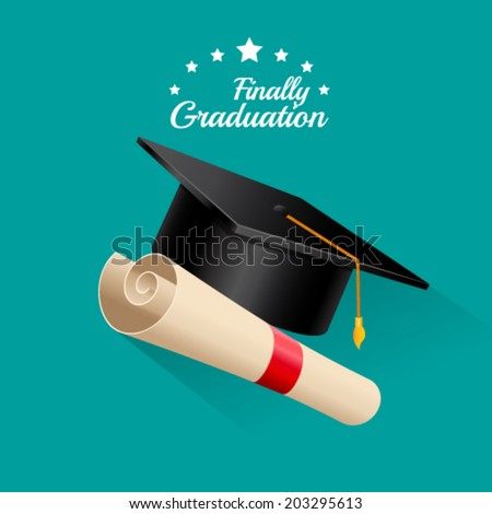 Finally graduation, vector illustration - stock vector