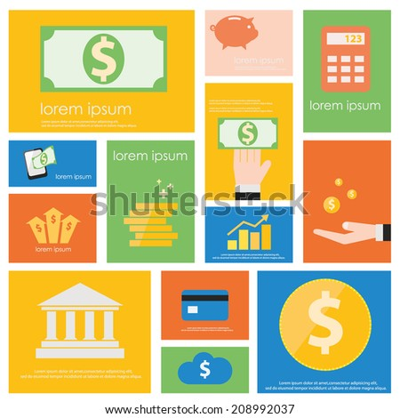 Finance and Banking icon set.  Flat vector retro design . - stock vector