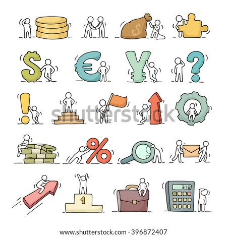 Finance and business icons set of sketch working little people with arrow, money, currency. Doodle miniature scenes of workers. Hand drawn cartoon vector for business and finance design, infographic. - stock vector