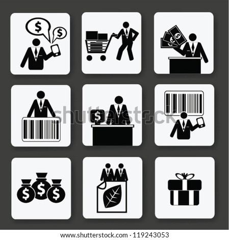Finance and business object concept,icon set,Vector - stock vector