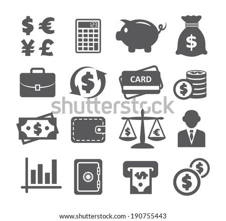 Finance and money icon set - stock vector