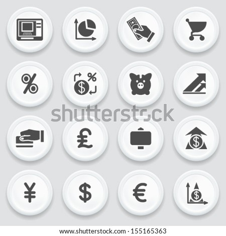 Finance black icons on with buttons. - stock vector