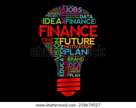 FINANCE bulb word cloud, business concept - stock vector
