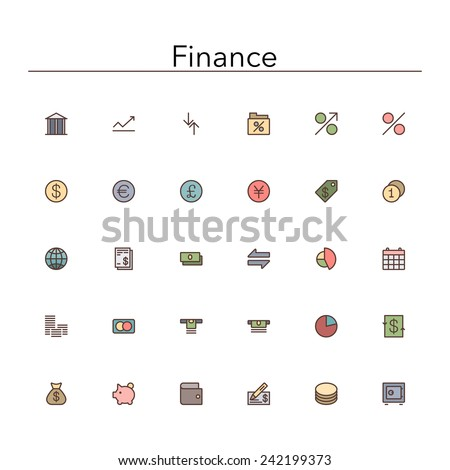 Finance colored line icons set. Vector illustration. - stock vector