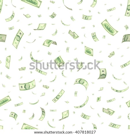 Finance concept. Dollar banknotes money rain. Hundred dollar banknotes flying. Seamless finance background. Vector illustration - stock vector
