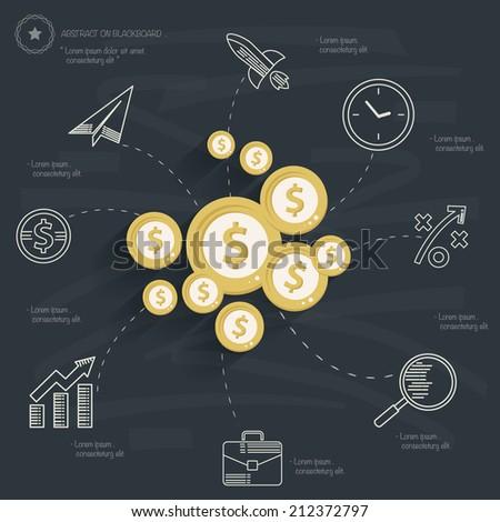 Finance concept on blackboard background,clean vector - stock vector