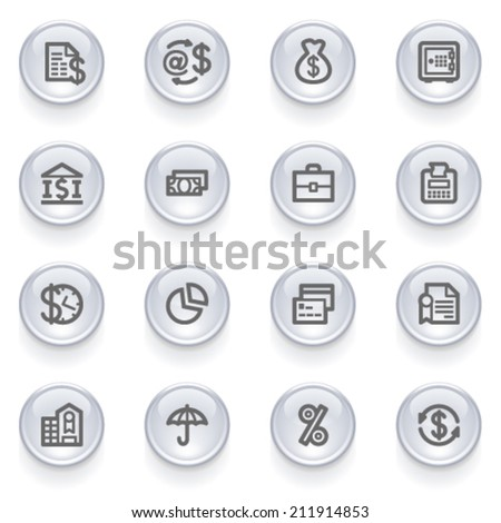 Finance contour icons on glossy buttons. - stock vector