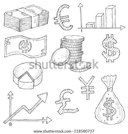 Finance Doodle Vector Set - stock vector