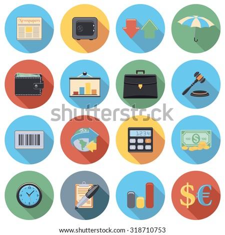 Finance flat circle icon set - stock vector