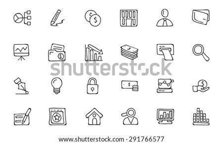 Finance Hand Drawn Doodle Icons - stock vector