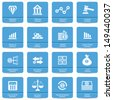 Finance icons,Blue buttons,vector - stock vector