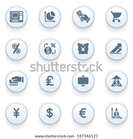 Finance icons on blue buttons. - stock vector