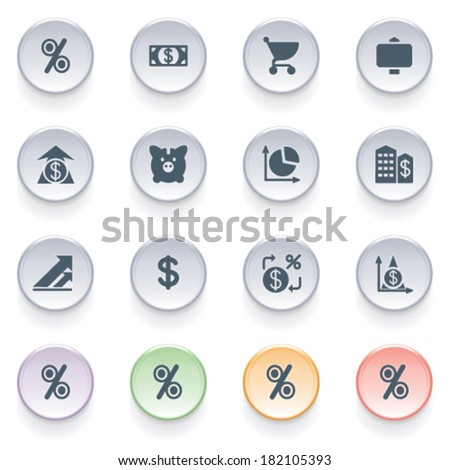 Finance icons on color buttons. - stock vector