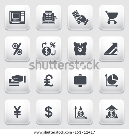 Finance icons on gray background. - stock vector