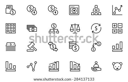 Finance Line Vector Icons 2 - stock vector